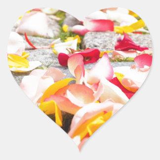 Rose Petals on Floor design Heart Sticker