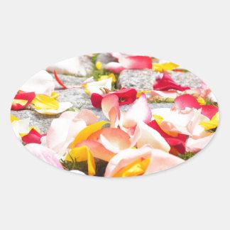 Rose Petals on Floor design Oval Sticker