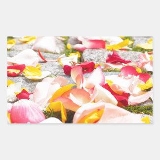 Rose Petals on Floor design Rectangular Sticker