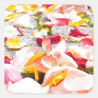 Rose Petals on Floor design Square Sticker