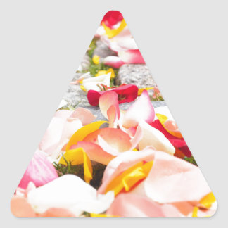 Rose Petals on Floor design Triangle Sticker