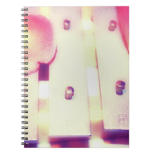 Rose Petals on Metal Bells Purple Pink themed Notebook