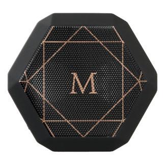 Rose Pink and Black Modern Geometric Monogram Black Bluetooth Speaker