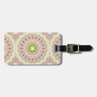Rose Pink and Olive Green Mandala Medallion Luggage Tag
