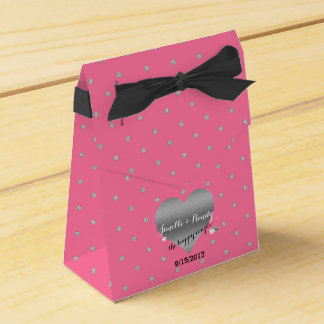 Rose Pink And Silver Heart Polka Dot Favour Boxes