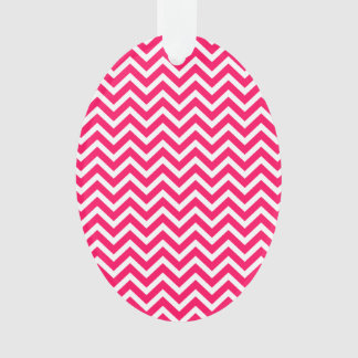 Rose Pink and White ZigZag Chevron Valentine Waves Ornament