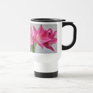 Rose-pink Crinum Lily No-Spill Travel Mug