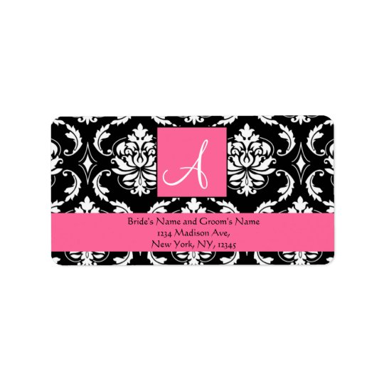 Rose Pink Damask Monogram Wedding Address Labels