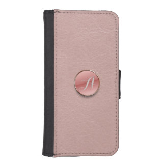 Rose Pink Faux Leather 3D Button Monogram Wallet