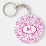 Rose Pink Floral Monogram Basic Round Button Key Ring