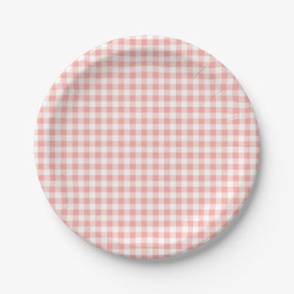 Rose Pink Gingham Check Plaid / Small Checkerboard 7 Inch Paper Plate