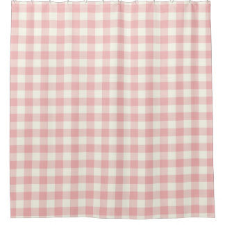 Rose Pink Gingham Shower Curtains