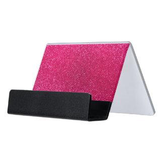 Rose pink glitter desk business card holder