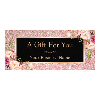 Rose Pink Glitter Floral Gift Certificate Card