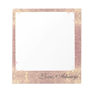 Rose Pink Glitter Sparkle Glam Faux Texture Notepad
