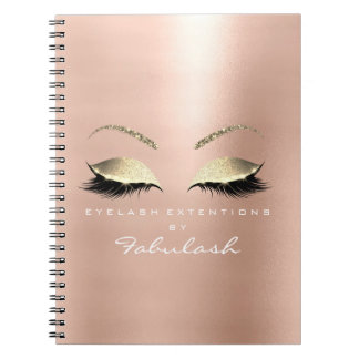 Rose Pink Gold Glitter Eyes Makeup Beauty White Notebook