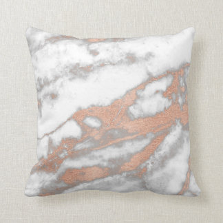 Rose Pink Gold Metallic Glitter Marble Gray Copper Throw Pillow