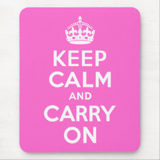 Rose Pink Keep Calm and Carry On Mouse Mat