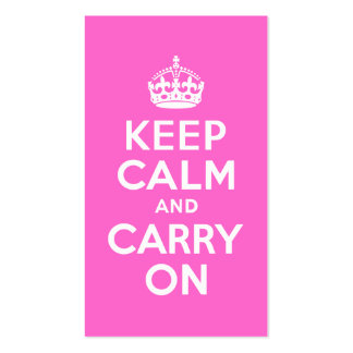 Rose Pink Keep Calm and Carry On Pack Of Standard Business Cards