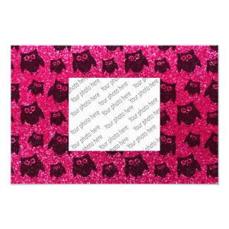 Rose pink owl glitter pattern art photo