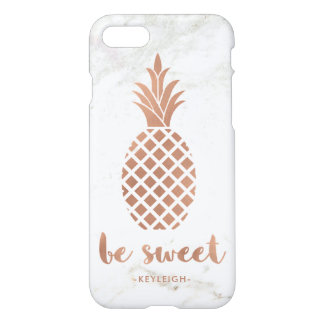 Rose Pink Pineapple on White Marble | Be Sweet iPhone 8/7 Case