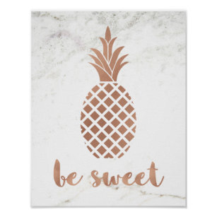 Rose Pink Pineapple On White Marble