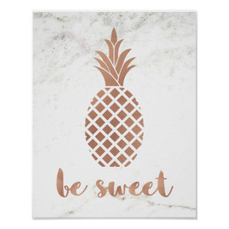 Rose Pink Pineapple on White Marble | Be Sweet Poster
