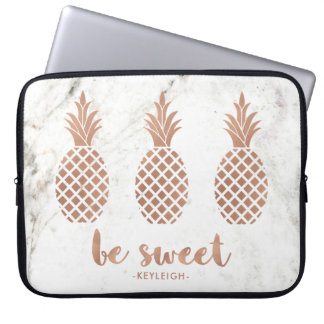 Rose Pink Pineapples on White Marble | Be Sweet Laptop Sleeve