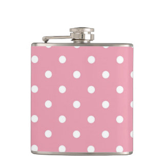 Rose Pink Polka Dot Flask