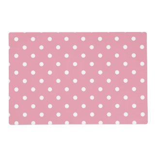 Rose Pink Polka Dot Placemats Laminated Place Mat