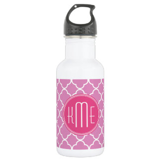 Rose Pink Quatrefoil with Custom Monogram 532 Ml Water Bottle