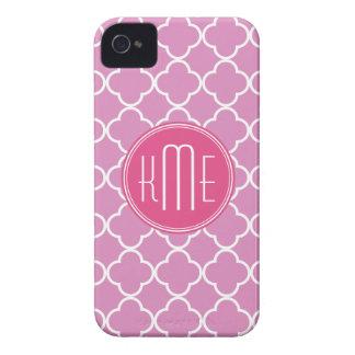 Rose Pink Quatrefoil with Custom Monogram iPhone 4 Case-Mate Cases