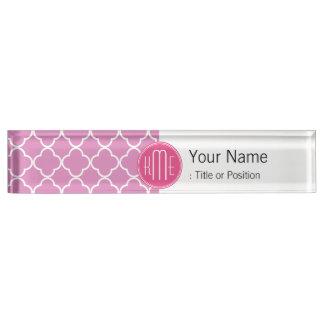 Rose Pink Quatrefoil with Custom Monogram Name Plate