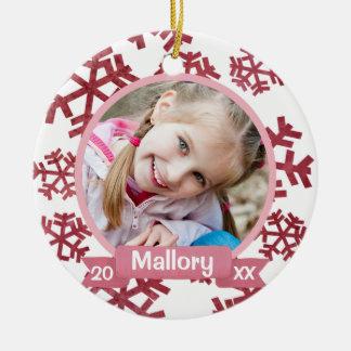 Rose Pink Snowflakes Personalized Keepsake Christmas Ornament