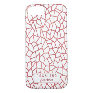 Rose Pink White Shattered Geometric Deco | Name iPhone 7 Case