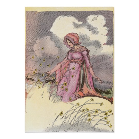 Rose Princess in Field of Flowers Poster