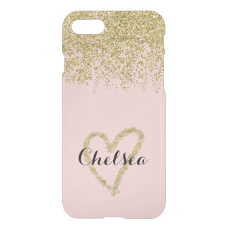 Rose Quartz And Gold Glitter Cascade Sheer iPhone 7 Case