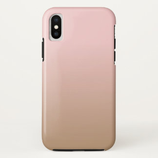 Rose Quartz and Iced Coffee Ombre Pink Brown iPhone X Case