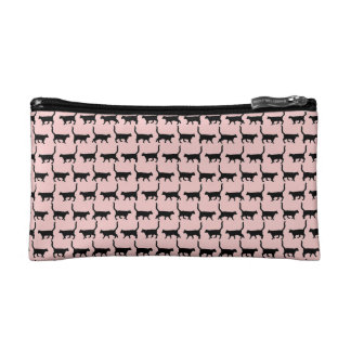 Rose Quartz Black Cats Print Cosmetic Bag