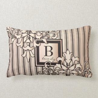 Rose Quartz Damask Stripes Monogram Girly Neutral Lumbar Cushion
