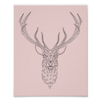 Rose Quartz Deer Geometric Poster -customize color
