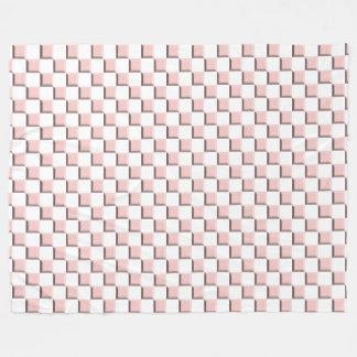 Rose Quartz Pink Beveled Checkerboard Pattern Fleece Blanket