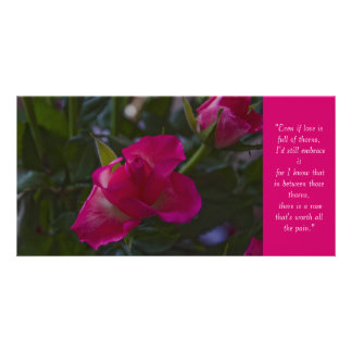 Rose Quote Card Personalized Photo Card