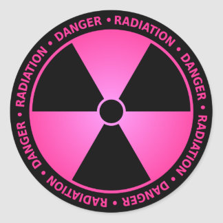Rose Radiation Symbol Sticker w/ Text