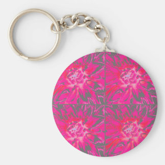 Rose Red Collage Dahlia Flower Pattern Key Chains