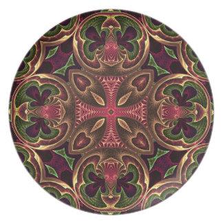 Rose Red Cross - Kaleidoscope Abstract Design Dinner Plate