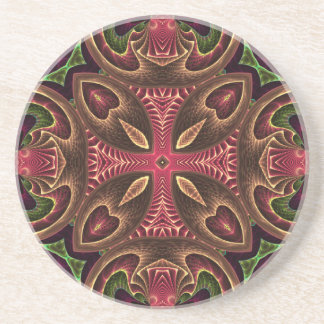 Rose Red Cross - Kaleidoscope Abstract Design Drink Coaster