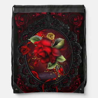 Rose Red Drawstring Bag
