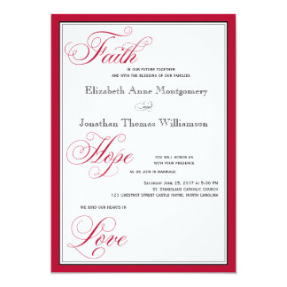 Rose Red Faith Hope Love Script Wedding Invitation
