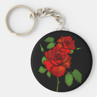 Rose Red Illustration Basic Round Button Key Ring